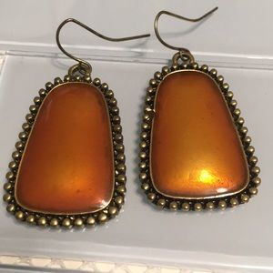 Gold metal  & Amber statement earrings